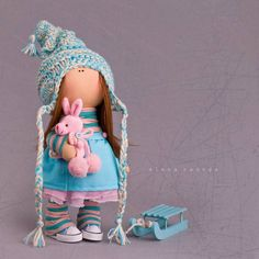 Tilda doll Baby doll toy Interior doll Art doll brown turquise colors soft doll…