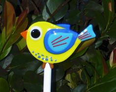 Colorful bird with worms by FusedGlassMenagerie on Etsy