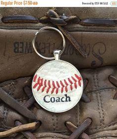 24c2392ae SALE Baseball 'Coach' Key Ring, Personalized 'Coach' Key Ring, Personalized