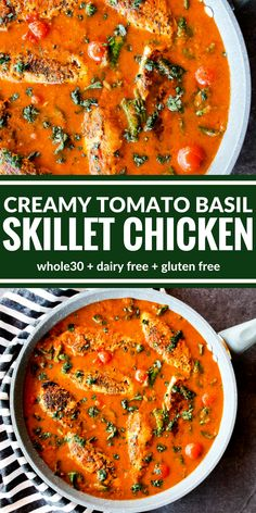 You're going to love this Creamy Tomato Basil Skillet Chicken! It's all about the sauce over perfectly sauteed chicken. Plus it's surprisingly dairy free, gluten free, and lentil soup recipe food network Creamy Tomato Basil Skillet Chicken Gluten Free Recipes, Diet Recipes, Cooking Recipes, Healthy Recipes, Chicken Recipes Dairy Free, Recipies, Turkey Recipes, Dairy Free Dinners, Gluten Dairy Free