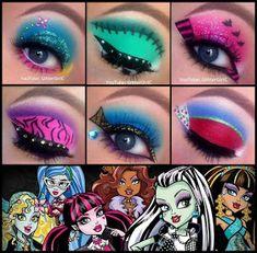Disney Eye Makeup, Disney Inspired Makeup, Eye Makeup Art, Eyeshadow Makeup, Halloween Eye Makeup, Clown Makeup, Creative Eye Makeup, Simple Eye Makeup, Monster High Makeup