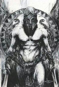 Fan of epic fantasy art! Warrior Tattoos, Viking Tattoos, Fantasy Kunst, Fantasy Art, Fantasy Gifts, Spartan Tattoo, Greek Mythology Tattoos, Greek Warrior, Spartan Warrior