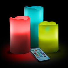 Lily's Home Vanilla Scented Wax Pillar Candles With Color Changing Remote Control and Timer (4'', 5'', 6'' inch candles) * Check out the image by visiting the link. (This is an affiliate link and I receive a commission for the sales)
