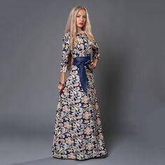 S. SABOR Marca Mulheres Vestido de Verão Outono Vestido Estilo Russo Impressão Vestidos Longos vestidos do Assoalho…
