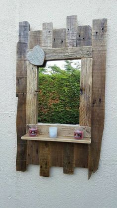 Entryway mirror - Large handmade rustic reclaimed wood mirror with shelf. Pallet Mirror, Reclaimed Wood Mirror, Reclaimed Wood Projects, Diy Pallet Projects, Pallet Ideas, Entryway Mirror, Diy Mirror, Modern Entryway, Pallet Furniture