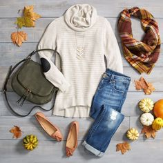 Fall Saturdays call for cozy knits, comfy jeans and candy-corn! #ohmygourd