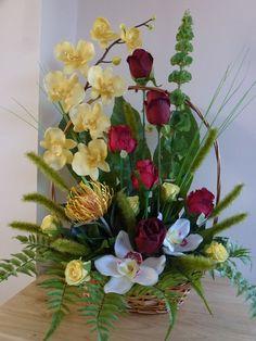 Basket Silk Flower Arrangement by Indigo Blooms Contemporary Flower Arrangements, Flower Arrangement Designs, Church Flower Arrangements, Faux Flower Arrangements, Faux Flowers, Silk Flowers, Dried Flowers, Funeral Flowers, Wedding Flowers