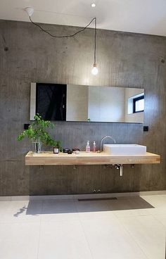 Concrete fixtures are very popular in modern interior design because they define this style so well. These days concrete as a material is very popular and modern. Concrete bathroom designs are very… Bathroom Renos, Laundry In Bathroom, Bathroom Interior, Interior Design Toilet, Washroom, Bathroom Furniture, Bathroom Storage, Industrial Bathroom, Modern Bathroom