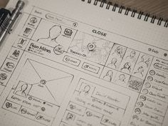 UI & Wireframe Sketches for your Inspiration - Web Design Ledger Wireframe Design, App Ui Design, Interface Design, User Interface, Design Thinking, Interaktives Design, Graphic Design, Icon Design, Intranet Design