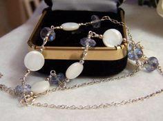 MOP & Topaz Necklace Handmade Artisan Genuine by ExquisiteStudios, $89.00 #group2020 #etsy