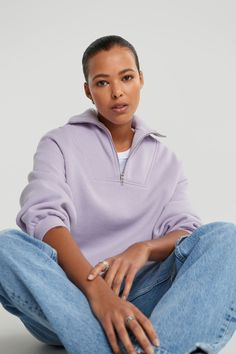 Elena sweater - collegetröjor - Gina Tricot Gina Tricot, Athletic, Sweaters, Jackets, Fashion, Lilac, Scale Model, Down Jackets, Moda