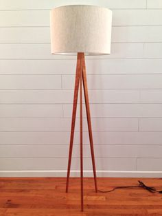 Tripod Floor Lamp Cherry Wood by WaldenWoodDesigns on Etsy $185