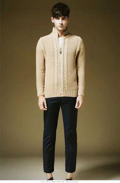 Men Casual Plain Color Knitwear Zipper Cardigans | Winter Clothes