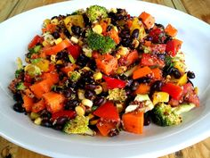 Southwest style salad with beans and quinoa. Vegan.
