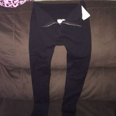 Black leggings Plain black leggings with zipper brand new with tags size small/medium Pants Leggings