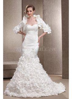 Glamorous Taffeta Mermaid Wedding Dress Dropped Waist Floral With Wrap
