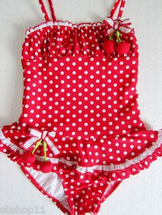 NWT Toddler/Baby/Girls Red Cherry Polka Dots Skirted Tutu One Pc Swimsuits 2T-6X
