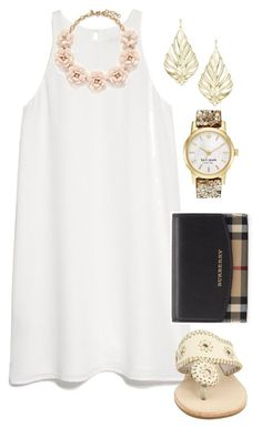 School tomorrow by madelyn-abigail on Polyvore featuring MANGO, Jack Rogers, Burberry, J.Crew, Kate Spade and Kendra Scott #summerdresses