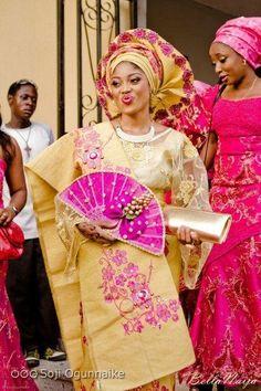 Nigerian (Yoruba) Traditional wedding attire. Bride wears Iro and ...