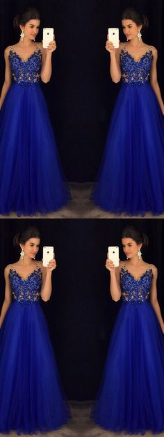 A-line Straps Floor-length Sleeveless Tulle Prom Dress/Evening Dress # VB123