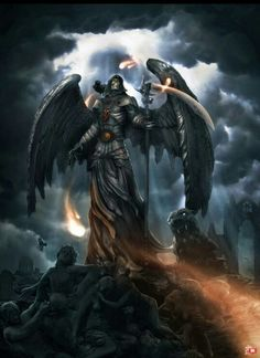 Death aka The Grim Reaper aka The Angel of Death aka The Fourth Horseman of the Apocalypse Fantasy Kunst, Dark Fantasy Art, Dark Art, Grim Reaper Art, Don't Fear The Reaper, Fantasy Creatures, Mythical Creatures, Dragon Tattoo With Skull, Arte Obscura
