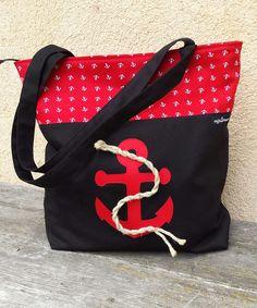 """Canvastaschen - Suzi.Ramone Anker-Tasche """"Mizzi"""" rot/schwarz - ein Designerstück von ByRamone bei DaWanda"""