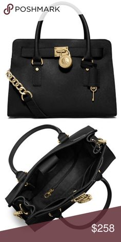 """New Michael Kors Hamilton Leather Satchel!! Ok. So I LOVE bags (got it from my momma)  I am instantly drawn to black bags especially those with gold hardware.  This is one of those bags that will never go out of style. You will always get complimented for and your eyes will always twinkle when you set your eyes on it.  This satchel features double top handles with 5"""" drop, adjustable shoulder strap, inside zip and slip pockets; saffiano leather with a padded interior to fit most laptops and…"""