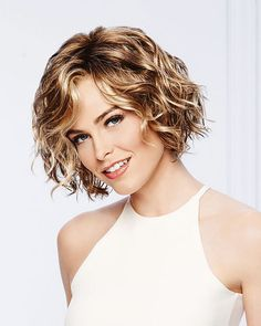 Sweet Talk by Eva Gabor Wigs - Lace Front, Monofilament Part Wig. Unstructured air-dried waves and a light, comfortable fit. Short Wavy, Short Curly Hair, Wavy Hair, Short Hair Cuts, Curly Hair Styles, Short Blonde, Curly Bob, Synthetic Lace Front Wigs, Synthetic Wigs