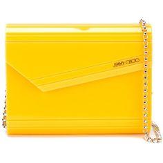 Jimmy Choo Candy Clutch (2.175 RON) ❤ liked on Polyvore featuring bags, handbags, clutches, yellow handbag, yellow clutches, jimmy choo, envelope clutch and chain strap handbag