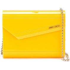 Jimmy Choo Candy Clutch (€480) ❤ liked on Polyvore featuring bags, handbags, clutches, yellow envelope clutch, yellow handbag, jimmy choo clutches, envelope clutch and jimmy choo purses