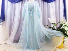 Vtg.S,2pc. Set blue Miss Elaine 3 layer sheer chiffon vintage nightgown peignoir #MissElaine