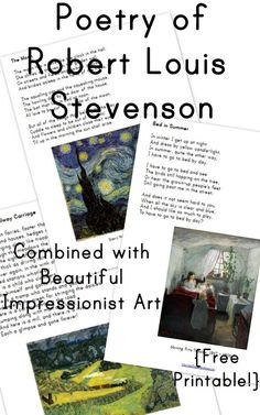 Poetry of Robert Louis Stevenson Combined with Impressionist Art from Wildflower Ramblings