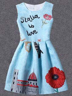 Sky Blue Printed Fit & Flare Sleeveless Dress