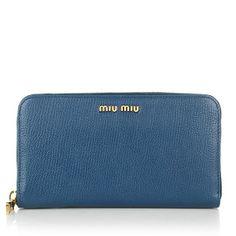 Miu Miu – Portafoglio Madras Cobalto - Miu Miu Portafoglio Madras Cobalto Accessoires