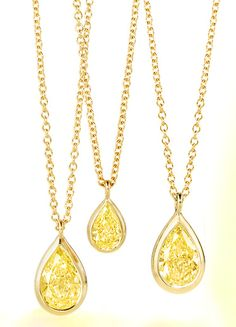 """Tiffany -Elsa Peretti-web-Apr. 2013,A fresh take on a classic collection, featuring a Tiffany Yellow Diamond for a dazzling splash of color. Pendant in 18k gold with a pear-shaped yellow diamond. On a 16"""" chain. Fancy intense yellow diamond, carat weight .37. Original designs copyrighted by Elsa Peretti. USD 4,100"""
