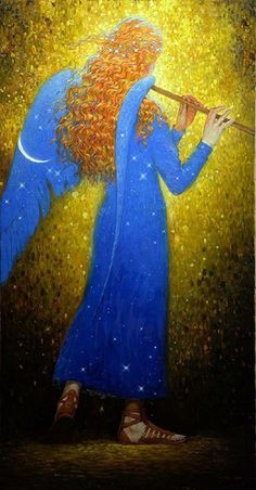 angel in blue with flute / l'Ange Gardien - Victor Nizovtsev Victor Nizovtsev, Angel Stories, Entertaining Angels, I Believe In Angels, Angel Guidance, Your Guardian Angel, Angels Among Us, Angel Pictures, Angel Art