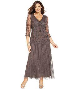 Pisarro Nights Plus Size Three-Quarter-Sleeve Beaded Gown - Dresses - Plus  Sizes 845868958c