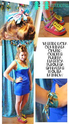 vestido bicolor + colita chuflo + pulsera elastica + sandalias tequila rainbow.