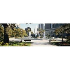 Fountain in a park Swann Memorial Fountain Logan Circle Philadelphia Philadelphia County Pennsylvania USA Canvas Art - Panoramic Images (18 x 6)