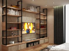 Living room tv shelves designs industrial style cabinet designs with hanging rails by young concept living room tv storage ideas Tv Shelf Design, Tv Console Design, Tv Cabinet Design, Living Room Cabinets, Living Room Furniture, Living Room Decor, Tv Cabinets, Decor Room, Living Rooms