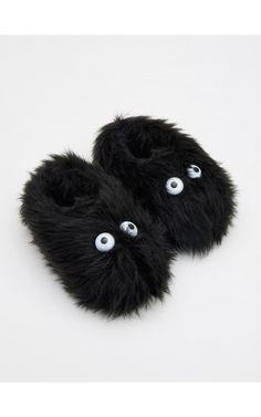 Papuci de casă cu blăniță, Încălţăminte, negru, RESERVED