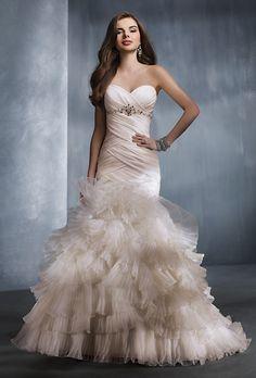 Brides.com: Affordable Wedding Dresses (Under $1,000!). Alfred Angelo. Taffeta and organza mermaid gown, style 2308, $999, Alfred Angelo  See more Alfred Angelo wedding dresses