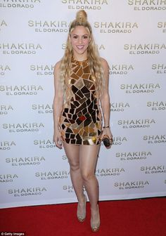 Golden girl: Shakira, 40, made sure all eyes were on her as she stepped out to celebrate the launch of her new album El Dorado