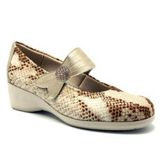 Yio zapato licra, color serpiente beige, planta extraible, ancho especial