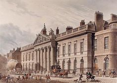 1817 ca. The expanded East India House, Leadenhall Street, London, as reconstructed in A drawing by Thomas Hosmer Shepherd. Old London, London City, Storm And Silence, College Image, India House, Mother India, Companies House, East India Company, London Architecture