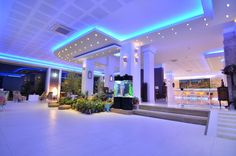 Aquarium, lights, lobby, green, night - Phoenicia Luxury, Mamaia Nord, Constanta, Romania