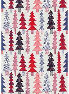 Kuusikossa cotton (l.grey, red, blue)  Fabrics, Cottons   Marimekko. Framed Christmas patterns, layered.