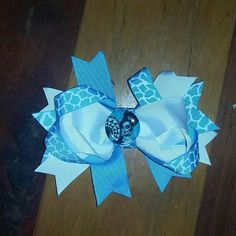Hairbow blue and white handmade never been worn