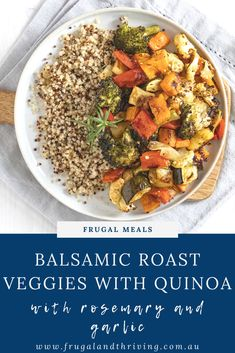 These honey balsamic roasted vegetables are a delicious twist on plain roast veggies. Serve with quinoa for a complete vegetarian meal. #frugalmeals #vegetarianmeal Frugal Recipes, Healthy Recipes On A Budget, Frugal Meals, Mixed Vegetables, Roasted Vegetables, Veggies, Vegetable Quinoa, Vegetable Recipes, Quinoa Pilaf
