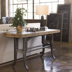Leather Sleeper Sofa Reinventions Boulton and Watt Flip Top Console Table by Thomasville industrial style